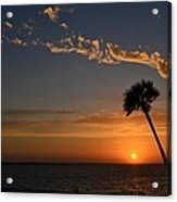 0502 Palms With Sunrise Colors On Santa Rosa Sound Acrylic Print by Jeff at JSJ Photography
