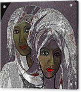 065 - White Veiled Ladies   Acrylic Print by Irmgard Schoendorf Welch