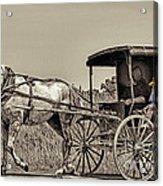 Amish Boy Tips Hat Acrylic Print by Robert Frederick