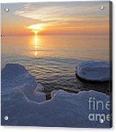 An Icy  Superior Sunrise Acrylic Print by Sandra Updyke