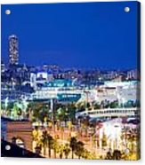 Barcelona And Its Skyline At Night Acrylic Print by Michal Bednarek