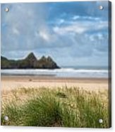 Beautiful Blue Sky Morning Landscape Over Sandy Three Cliffs Bay Acrylic Print by Matthew Gibson