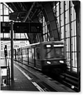Berlin S-bahn Train Speeds Past Platform At Alexanderplatz Main Train Station Germany Acrylic Print by Joe Fox