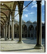 Blue Mosque Courtyard Acrylic Print by Joan Carroll