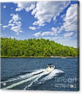Boating On Lake Acrylic Print by Elena Elisseeva