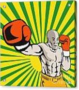Boxer Boxing Jabbing Front Acrylic Print by Aloysius Patrimonio