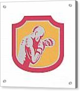 Boxer Boxing Jabbing Punch Side Shield Retro Acrylic Print by Aloysius Patrimonio