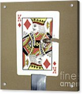 Bullet Piercing Playing Card Acrylic Print by Gary S. Settles