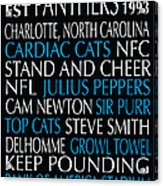 Carolina Panthers Acrylic Print by Jaime Friedman