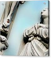 Christ On The Cross With Mourners Saint Joseph Cemetery Evansville Indiana 2008 Acrylic Print by John Hanou
