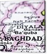 close up of Baghdad on map-Iraq Acrylic Print by Tuimages