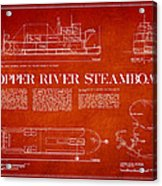 Copper River Steamboats Blueprint Acrylic Print by Aged Pixel