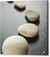 Curving Line Of Grey Pebbles On Dark Background Acrylic Print by Colin and Linda McKie