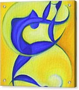Dancing Sprite In Yellow And Blue Acrylic Print by Tiffany Davis-Rustam