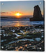 Davenport Beach Sunset 1 Acrylic Print by About Light  Images