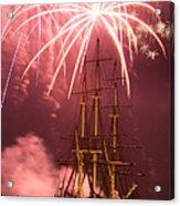 Fireworks Exploding Over Salem's Friendship Acrylic Print by Jeff Folger