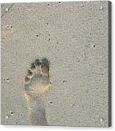 Footprint In Sand On Beach Acrylic Print by Sami Sarkis