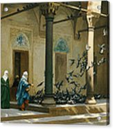 Harem Women Feeding Pigeons In A Courtyard Acrylic Print by Jean Leon Gerome