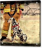 Hurricane Sandy Fireman And Dog Acrylic Print by Jessica Cirz