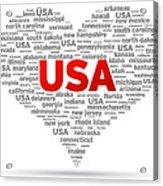I Love Usa Acrylic Print by Aged Pixel
