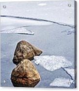 Icy Shore In Winter Acrylic Print by Elena Elisseeva