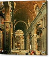 Interior Of St Peters In Rome Acrylic Print by Giovanni Paolo Panini