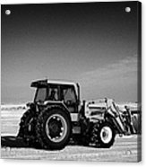 international 5140 tractor with front end loader on frozen field Forget Saskatchewan Canada Acrylic Print by Joe Fox
