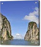 Limestone Karst Peaks Islands In Ha Long Bay Acrylic Print by Sami Sarkis
