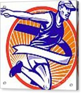 Male Marathon Runner Running Retro Woodcut Acrylic Print by Aloysius Patrimonio