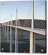 Millau Viaduct At Sunrise Midi-pyrenees France Acrylic Print by Colin and Linda McKie