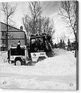 municipal city mini tractor clearing sidewalks and roads in Saskatoon Saskatchewan Canada Acrylic Print by Joe Fox