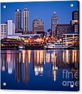 Peoria Illinois Skyline At Night Acrylic Print by Paul Velgos