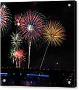 Pops On The River Fireworks Acrylic Print by Robert Camp