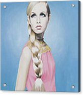 Portrait Of Twiggy Acrylic Print by Moe Notsu