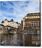 Prague From Vltava Acrylic Print by Jelena Jovanovic