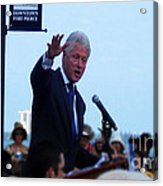 President Clinton In Fort Pierce Acrylic Print by Megan Dirsa-DuBois