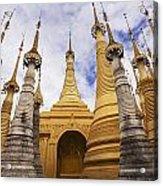 Ruined Pagodas At Shwe Inn Thein Paya Acrylic Print by Chris Caldicott