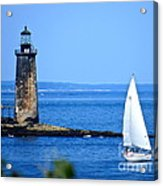Sailing By Ram Island Light Acrylic Print by Nancy Patterson