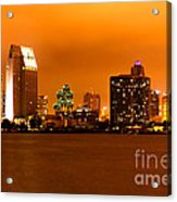 San Diego Skyline At Night Acrylic Print by Paul Velgos