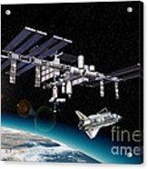 Space Station In Orbit Around Earth Acrylic Print by Leonello Calvetti