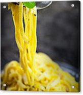 Spaghetti Carbonara Acrylic Print by Mythja  Photography