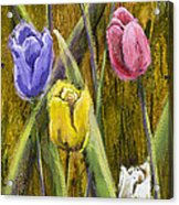 Splashy Tulips Acrylic Print by Vic  Mastis