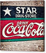 Star Drug Store Wall Sign Acrylic Print by Scott Pellegrin
