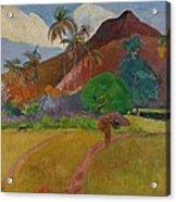 Tahitian Landscape Acrylic Print by Paul Gauguin