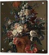 Vase Of Flowers Acrylic Print by Jan van Huysum