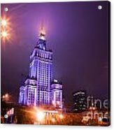 Warsaw Poland Downtown Skyline At Night Acrylic Print by Michal Bednarek