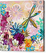Whimsical Floral Flowers Dragonfly Art Colorful Uplifting Painting By Megan Duncanson Acrylic Print by Megan Duncanson