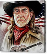 Willie Nelson American Legend Acrylic Print by Andrew Read