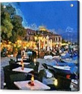 Molyvos Town In Lesvos Island Acrylic Print by George Atsametakis
