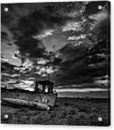 Stunning Black And White Image Of Abandoned Boat On Shingle Beac Acrylic Print by Matthew Gibson